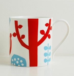 Image of Bone china red/blue tree mug