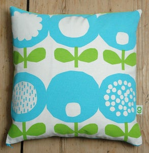 Image of Poppy print cushion in green and blue
