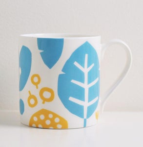 Image of Bone china yellow/blue leaf mug