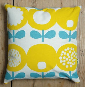 Image of Poppy print cushion in yellow and blue