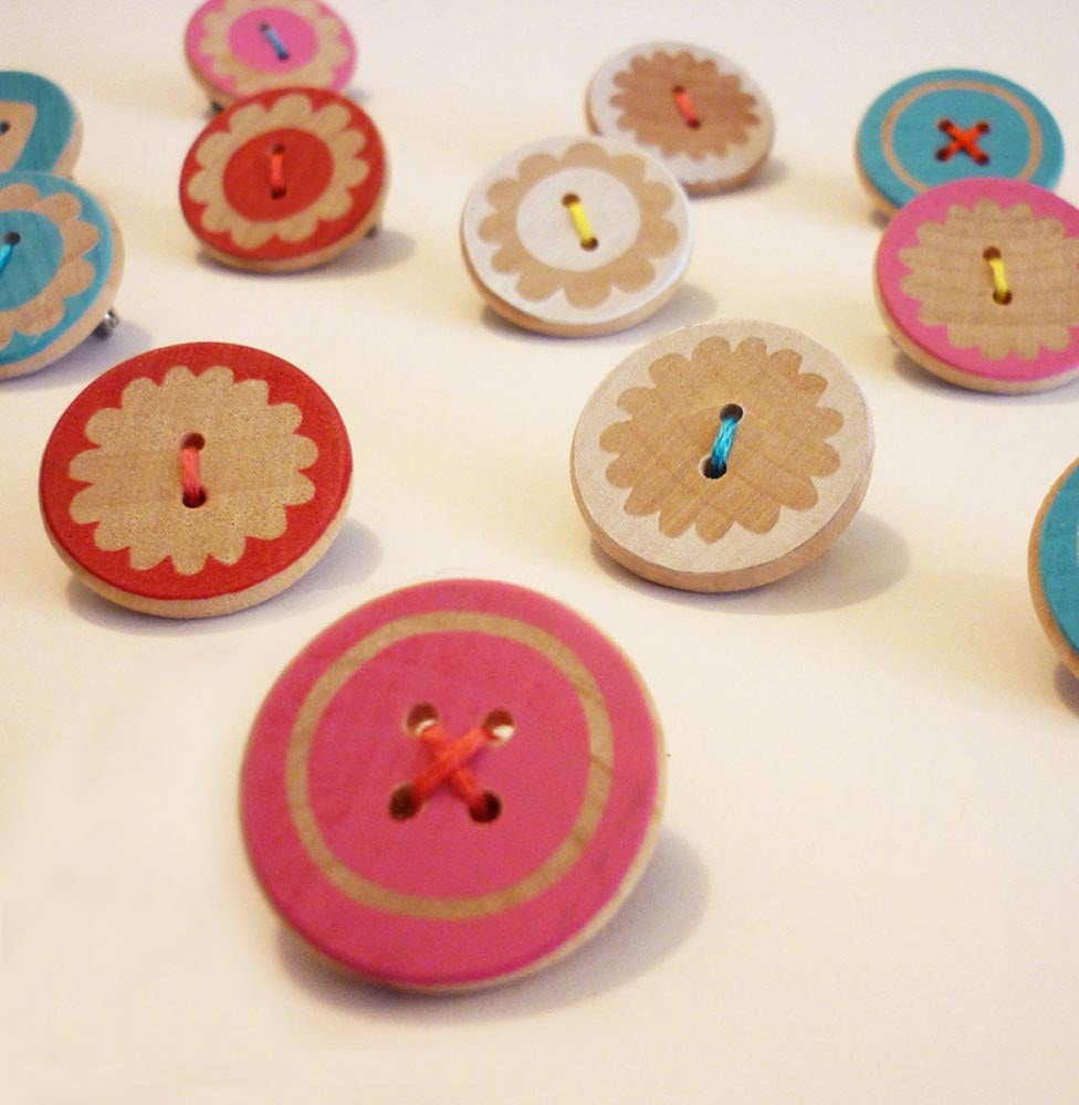 Image of Screen printed button brooch