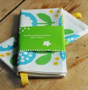 Image of Screen printed blue/green poppy Tea Towel