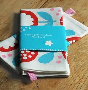Image of Screen printed red/blue poppy Tea Towel