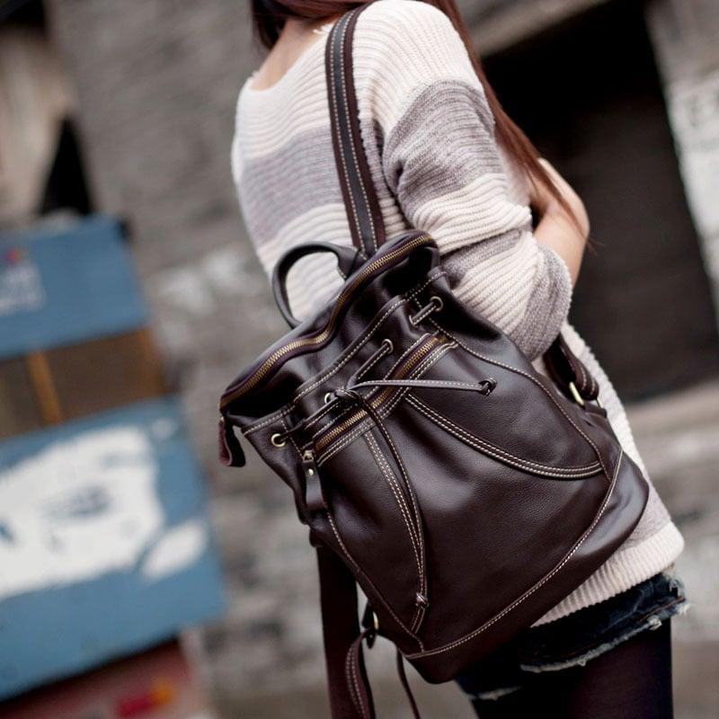 275454b887 Image of Handmade Genuine Leather Women s Backpack Day Pack Satchel Travel  Bag in dark brown (