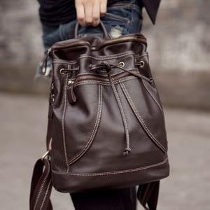 Image of Handmade Genuine Leather Women's Backpack Day Pack Satchel Travel Bag in dark brown (m36)