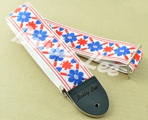 Image of Tulip Cream Blue Red Guitar Strap