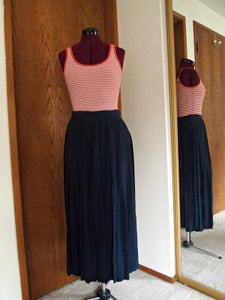 Image of Navy Midi Skirt