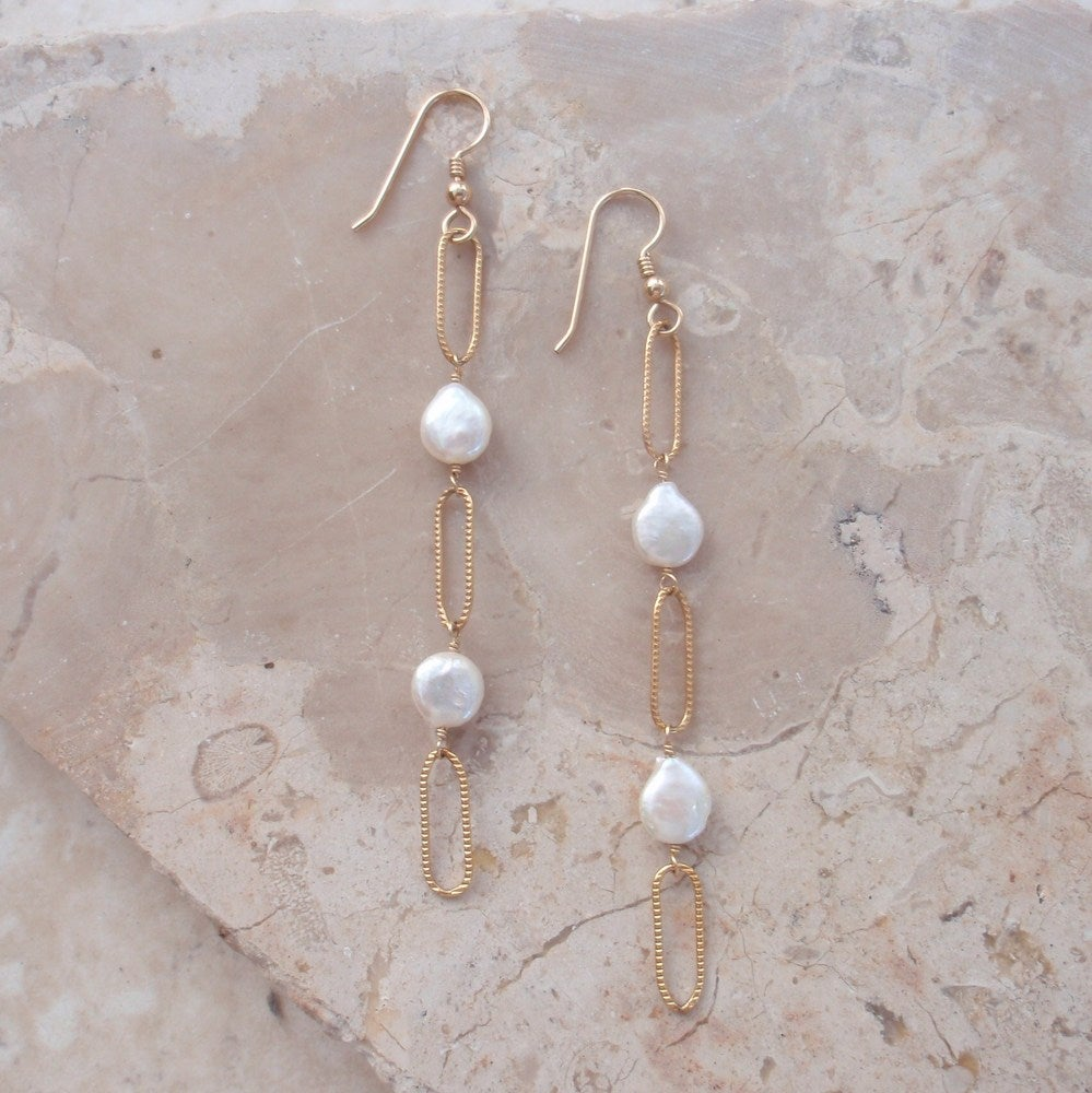 Elements-Coin pearl and gold chain link earrings
