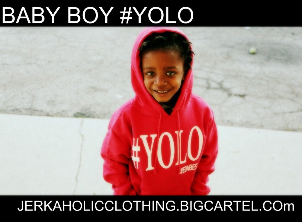 Image of BABY BOY #YOLO RED HOODIE