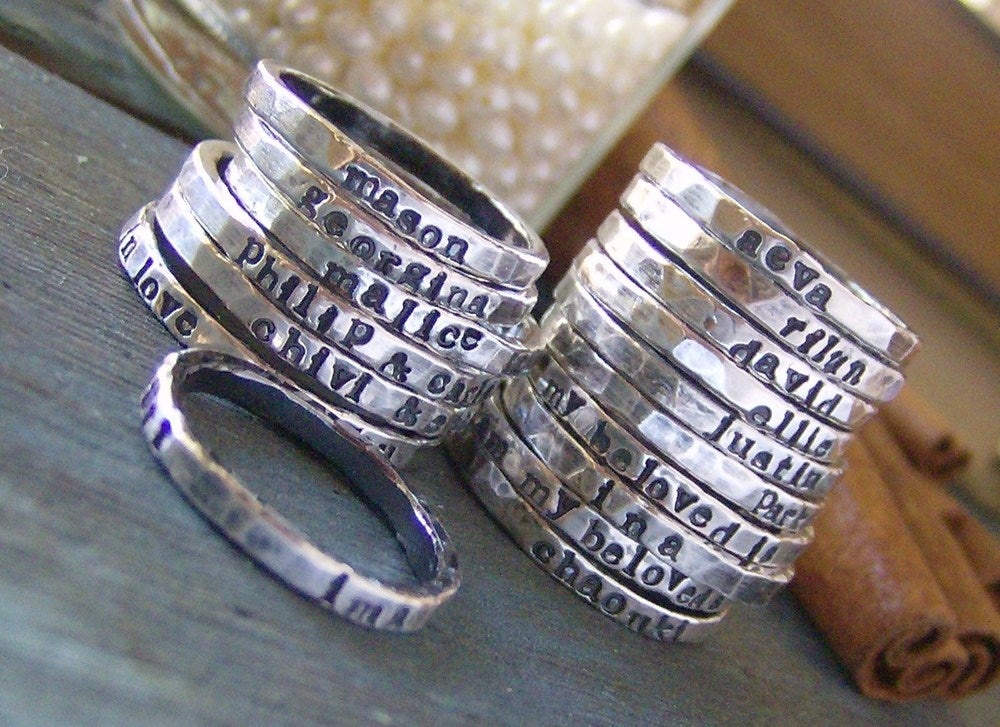 Image of fine silver stacking rings