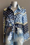 #1213 BLUE LV INSPIRED BOTTON UP TOP