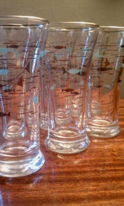 Image of 6 Vintage Eames Era Libbey Shot Glasses: Turquiose and Silver Fish Pattern