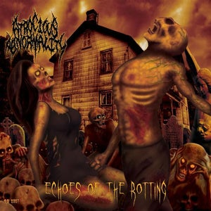 """Image of """"Echoes of the Rotting"""" CD and sticker"""
