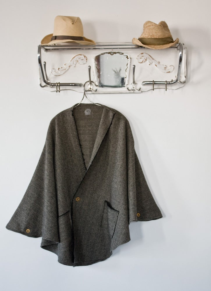 Wool Herringbone Poncho w/ Vintage French Military Buttons O/S