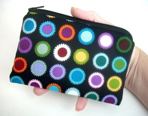 Image of  Bold Dots Coin Purse Padded Zipper Pouch Gadget Case ECO Friendly