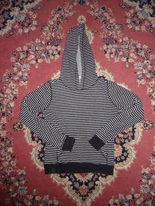 Image of Long Sleeve Black with White Stripes Hoodie
