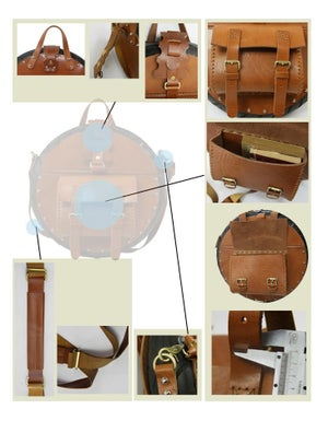 Image of TREASURE Art Bag - Handmade Novelly Messenger Bag Satchel in Antique Brown Leather (m29)