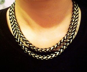 Image of Braided Brass Necklace with Adjustable Clasp
