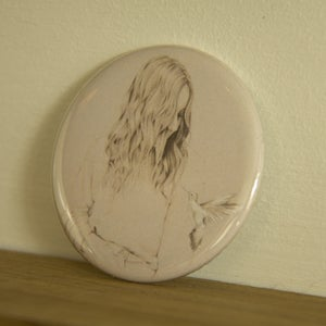 Image of Girl & Bird pocket mirror