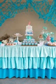 Image of Ombre Ruffle Tablecloth Blue, yellow or pink
