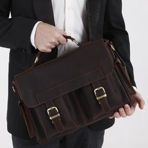 "Image of Vintage Handmade Genuine Crazy Horse Leather Briefcase Messenger 13"" Laptop / 13"" MacBook Bag (n55)"