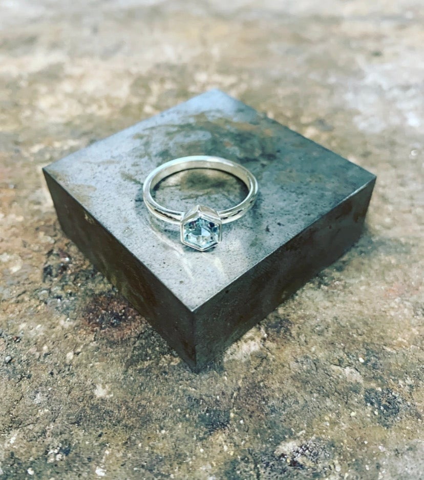 Image of Silver Aquamarine Hex Ring