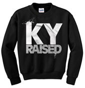 Image of Ky Raised Crewneck Sweatshirt in Black / White / Grey