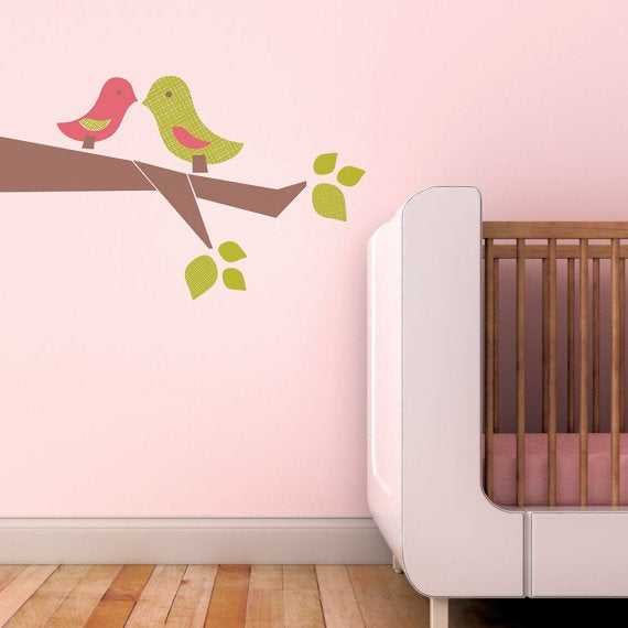 love birds fabric wall sticker decal - removable and reusable