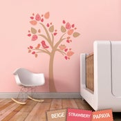 Image of Tree with Bird Nest Fabric Wall Sticker Decal - Removable and Reusable