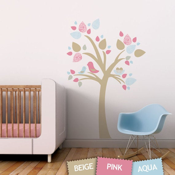 tree with bird nest fabric wall sticker decal - reusable — removable
