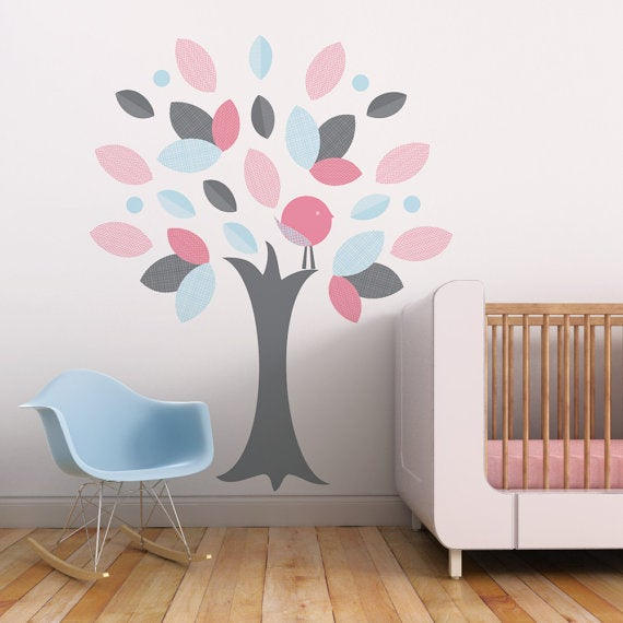 leafy tree children fabric wall decal - wall art sticker for nursery