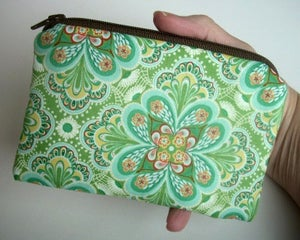 Image of Green Zipper Pouch ECO Friendly Little Coin Purse Gadget Case Padded Flora Paisley Leaf