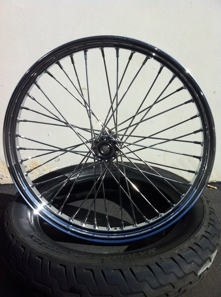 "Image of BNC 21"" stainless spool hub wheel"