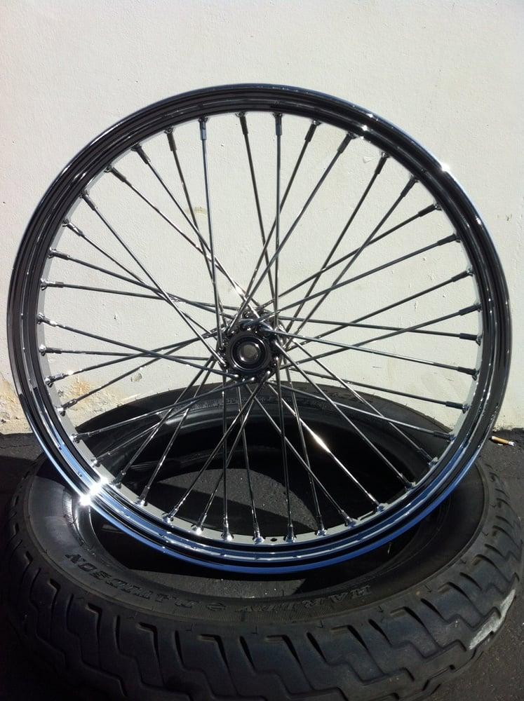 "Image of BNC 21"" stainless spool hub wheel"