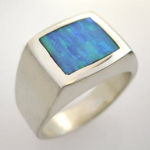 Image of Mens Square Kyocera Opal Ring