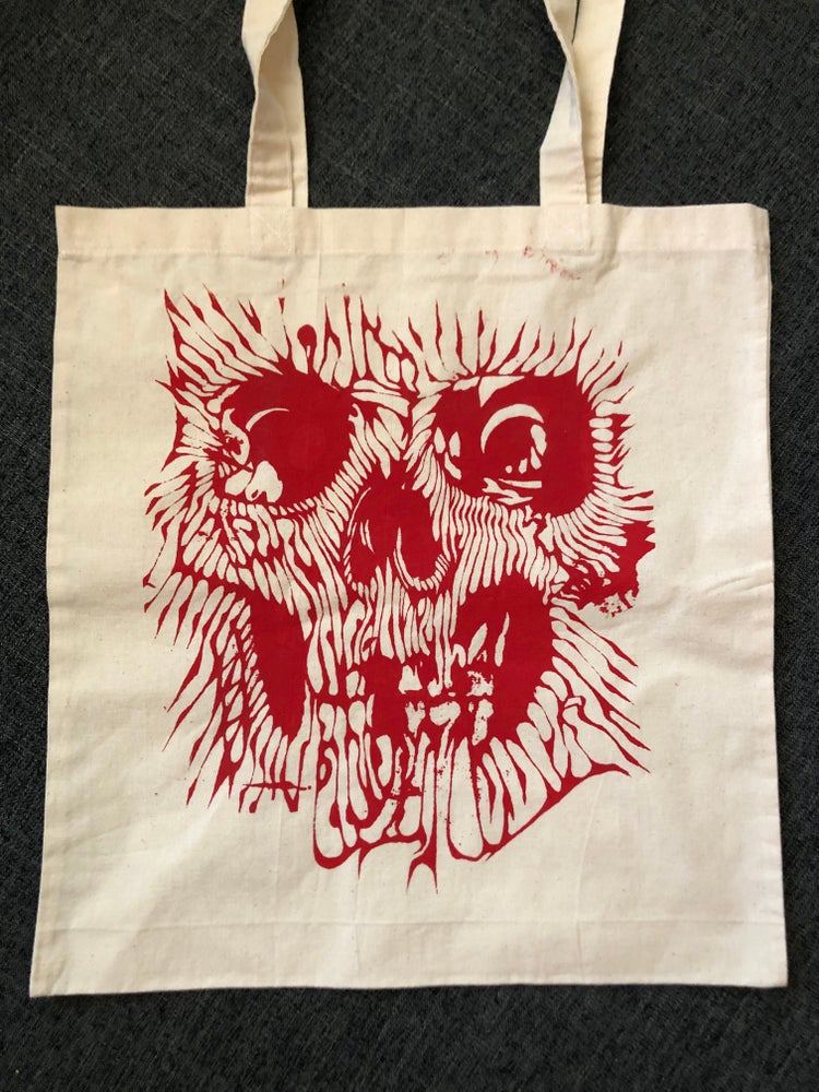 Image of Red skull tote bag