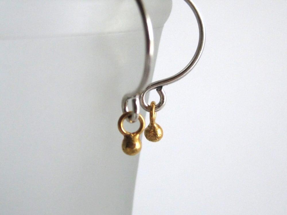 Image of Tiny gold ball hoop mixed metal hoop earrings