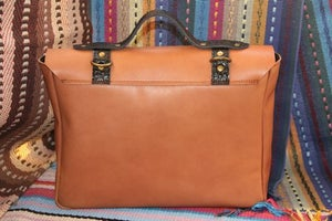 Image of Vintage Handmade Genuine Leather Satchel Briefcase Handbag Messenger Bag in Brown with Black (m43-2)