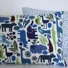 Blue Retro Zoo Cushions