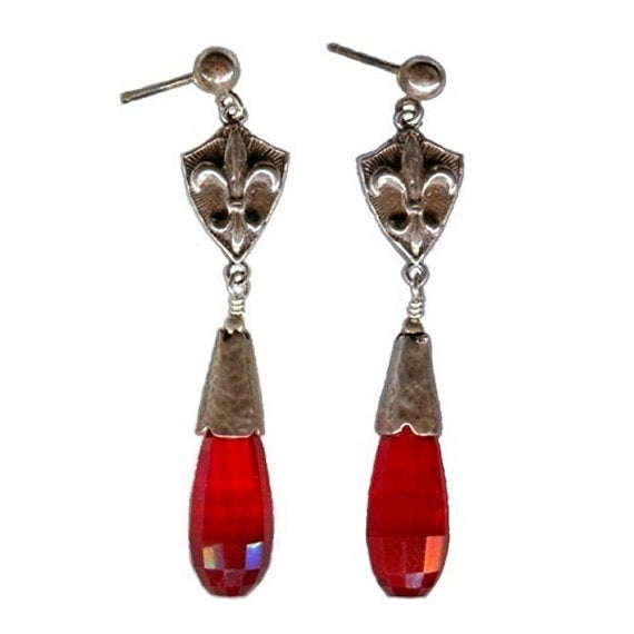 Image of TEMPORARILY SOLD OUT Fleur de Lis Earrings - Red Quartz Glass, Sterling Silver