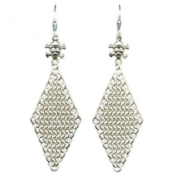 Image of Chainmaille Earrings with Skull and Crossbones - Sterling Silver