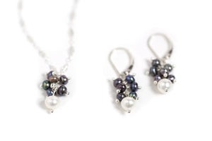 Image of Black and White Pearl Cluster Necklace and Earrings