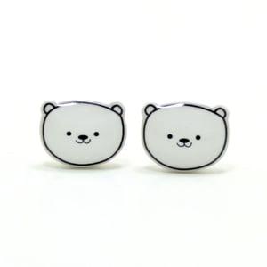 Image of Polar Bear Earrings - Sterling Silver Posts