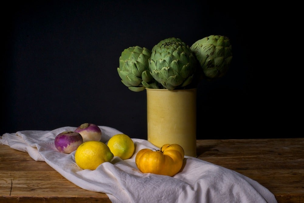 Image of Long stem artichokes, lemons, Eli & Ali heirloom tomato, turnips