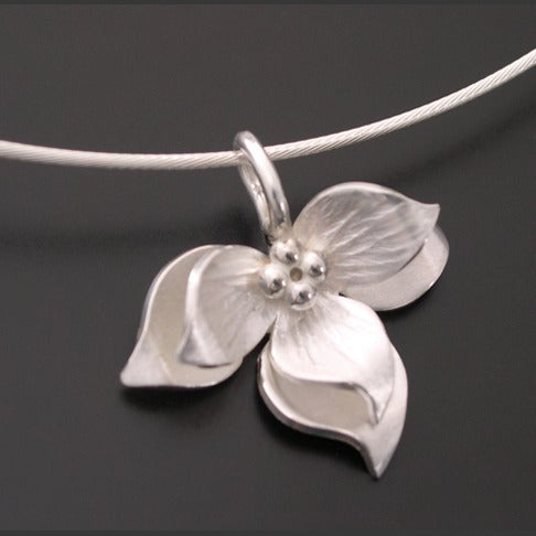 Image of Sterling Lotus Pendant Bright
