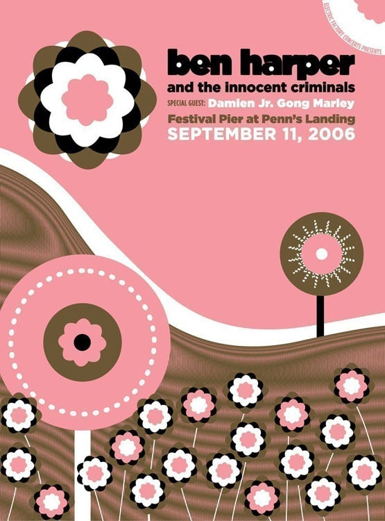 Image of Ben Harper & The Innocent Criminals Silkscreen Poster (Pink)