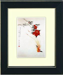 Image of framed print of Chinese Painting on canvas - Camellia and Terpsiphone Paradisi