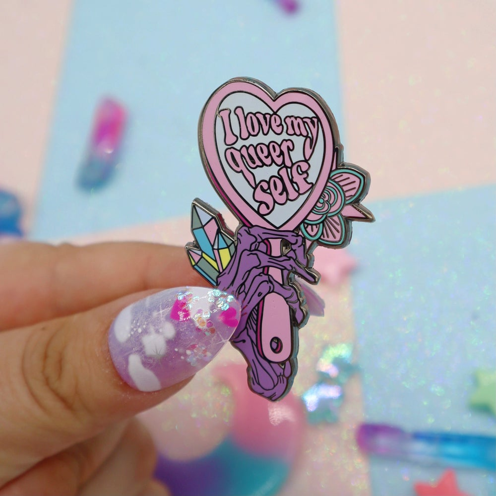 Image of I Love My Queer Self Enamel Pin