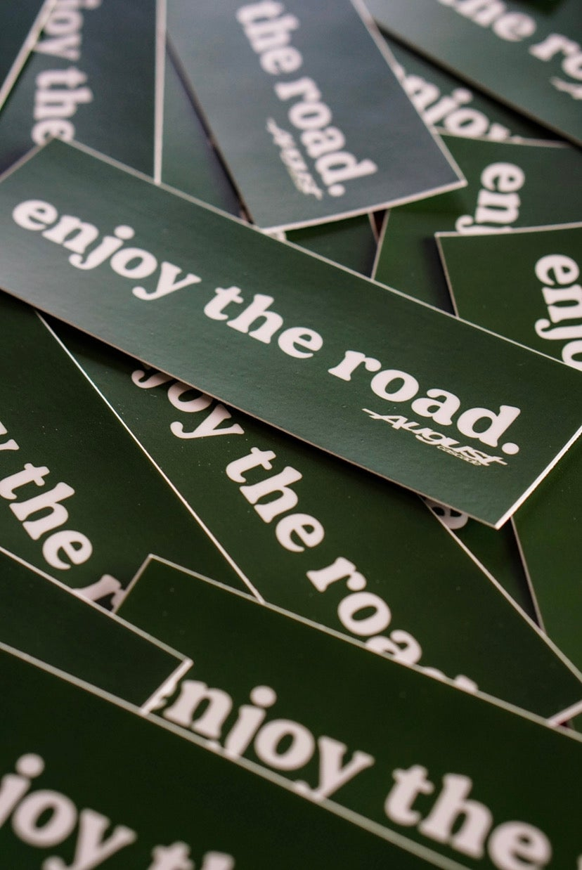 Enjoy the road. White/forest green