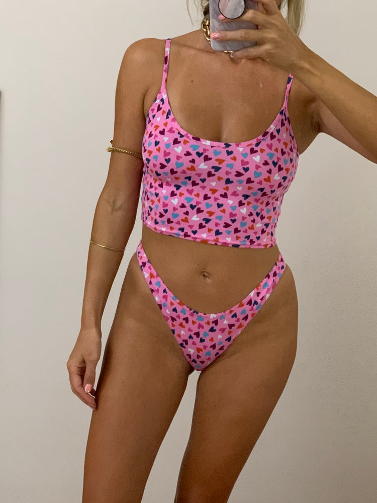 Image of Ditsy Heart Print Cami Underwear / Bed Set